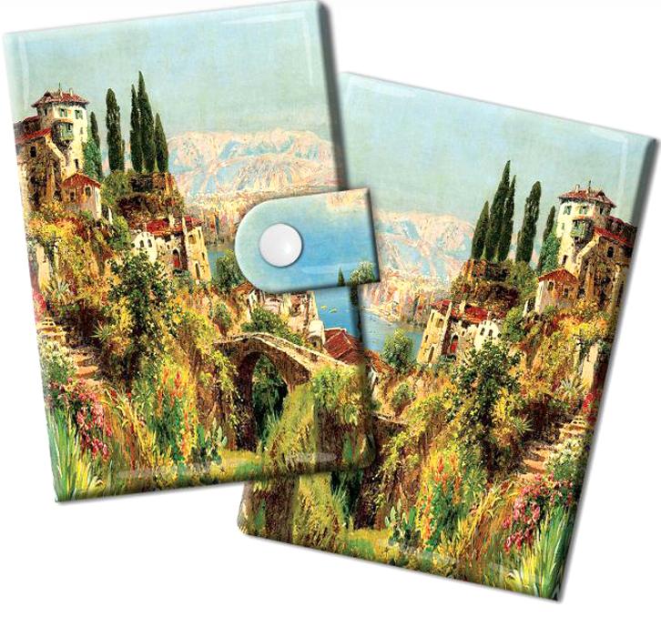 Визитница Magic Home Итальянский городок, цвет: зеленый, голубой. 44875B16-11416Визитница Magic Home выполнена из искусственной кожи и дополнена оригинальным рисунком. Модель застегивается на хлястик с кнопкой. Внутри содержатся 10 карманов для карт и визиток. Стильная визитница подчеркнет вашу индивидуальность и изысканный вкус, а также станет замечательным подарком.