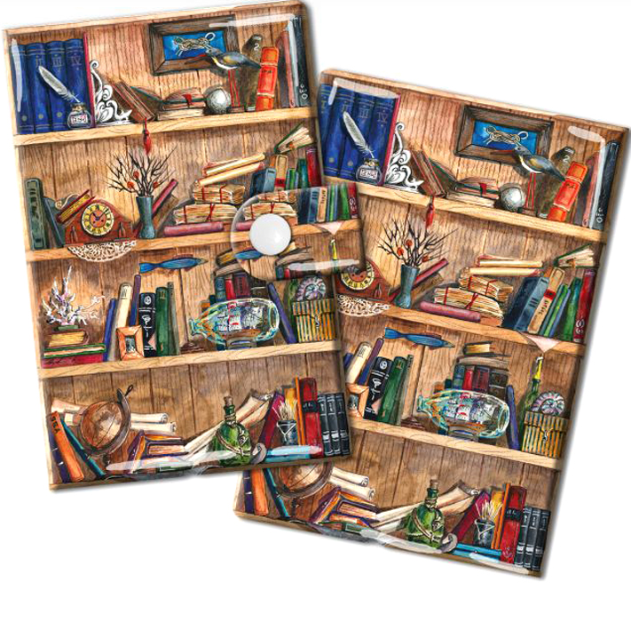 Визитница Magic Home Книжные полки, цвет: коричневый, синий. 448803607869410673Визитница Magic Home выполнена из искусственной кожи и дополнена оригинальным рисунком. Модель застегивается на хлястик с кнопкой. Внутри содержатся 10 карманов для карт и визиток. Стильная визитница подчеркнет вашу индивидуальность и изысканный вкус, а также станет замечательным подарком.