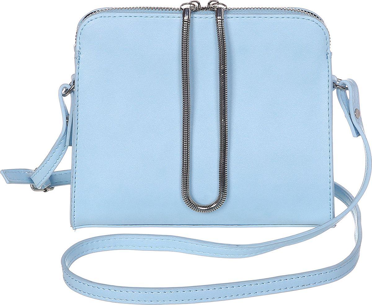 Сумка женская Модные истории, цвет: голубой. 3/0268/181101225Небольшая однотонная сумочка, зауженная к молнии. Декорирована подвижным металлическим шнурком закрепленном с двух сторон на молнии. Внутри одно отделение с двумя открытыми и одним на замочке кармашками. Имеется регулируемый кожаный ремешок, который позволит носить сумку на плече.