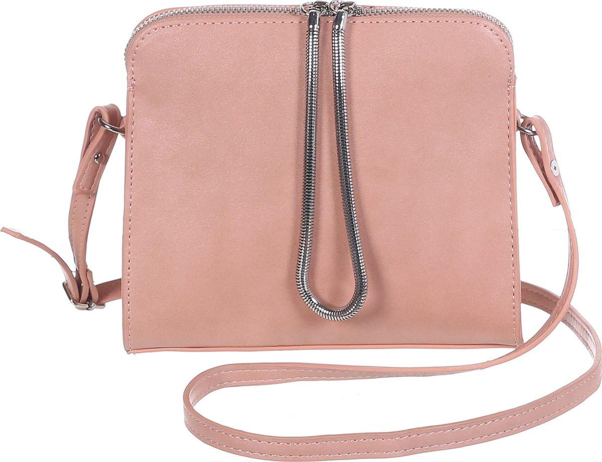 Сумка женская Модные истории, цвет: розовый. 3/0268/117747998-101Небольшая однотонная сумочка, зауженная к молнии. Декорирована подвижным металлическим шнурком закрепленном с двух сторон на молнии. Внутри одно отделение с двумя открытыми и одним на замочке кармашками. Имеется регулируемый кожаный ремешок, который позволит носить сумку на плече.