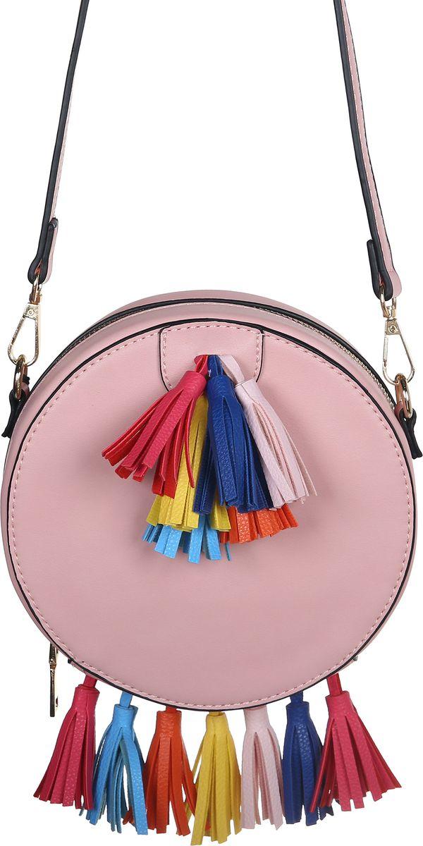 Сумка женская Модные истории, цвет: розовый. 3/0272BM8434-58AEЯркая круглая по форме сумка в нежно розовом цвете. Закрывается на молнию. Декорирована разноцветными кисточками у основания и сверху на лицевой части сумки. Внутри одно отделение с открытым кармашком. На внешней задней части сумки открытый карман. Имеется регулируемый кожаный ремешок, который позволит носить сумку на плече.
