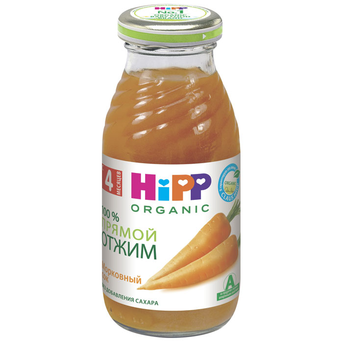 Hipp Сок морковный, с 4 месяцев, 200 г9062300102342Морковь улучшает аппетит и пищеварение. Морковный сок является средством улучшения зрения, имеет заживляющий эффект, повышает сопротивляемость организма к инфекционным заболеваниям, укрепляет нервную систему, активизирует клеточный обмен. Благодаря содержащимся в моркови солям кобальта и железа нектар полезен при малокровии. В моркови содержатся витамины, благотворно влияющие на состояние кожи, сосудов и деятельность мозга. Среди них витамины РР и В2. Рекомендуется детям с 4 месяцев, начиная с минимальной дозы после одного из утренних кормлений, постепенно увеличивая в течение 5-7 дней до 20-30 мл.