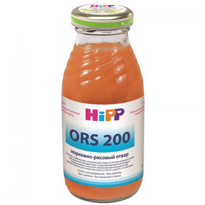 Hipp Отвар морковно-рисовый, с 4 месяцев, 200 г9062300102823Сок Hipp Морковно-рисовый отвар используется при лечении диареи и рвоты у детей грудного и младшего возраста. Лечебное действие основано на способности оптимально возмещать потерю жидкости, минеральных солей и калорий для предупреждения обезвоживания организма ребенка и нарушения кровообращения. Отличается от других подобных средств наличием морковного пектина и рисовой муки, что повышает питательную ценность продукта, способствует восстановлению слизистой оболочки желудочно-кишечного тракта, закреплению стула и более быстрому выздоровлению ребенка. Разработан специально для детей после 4-х месяцев жизни, приятен на вкус и удобен в использовании.