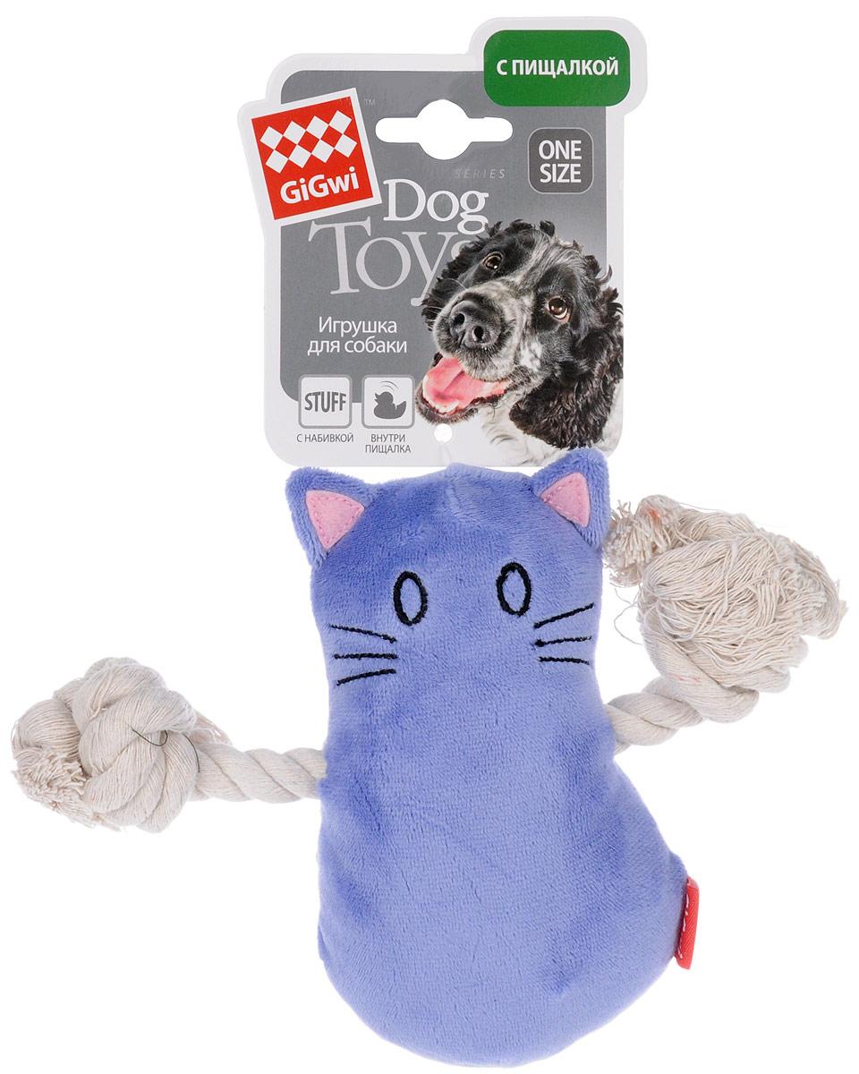 Игрушка для собак GiGwi Кот, с пищалкой, длина 14 см. 750340120710Игрушка для собак GiGwi Кот выполнена из текстиля и дополнена набивкой. Игрушка подходит для активной игры. Материал не ранит зубы. Игрушка оснащена пищалкой.