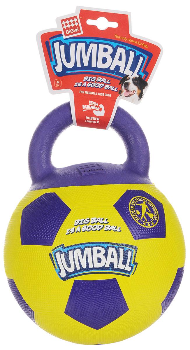 Игрушка для собак GiGwi Джамболл, 20 см х 26 см х 20 см. 753665605259Игрушка для собак GiGwi Джамболл выполнена из прочной резины в виде мяча с ручкой. Игрушка Джамболл для средних и больших собак. Ручка сделана из пористой резины, что не позволяет собаке прокусывать мяч, дизайн ручки также помогает собаке легко подобрать мяч. Материал теннисный, неабразивный ( не стирает зубы) и нетоксичный.