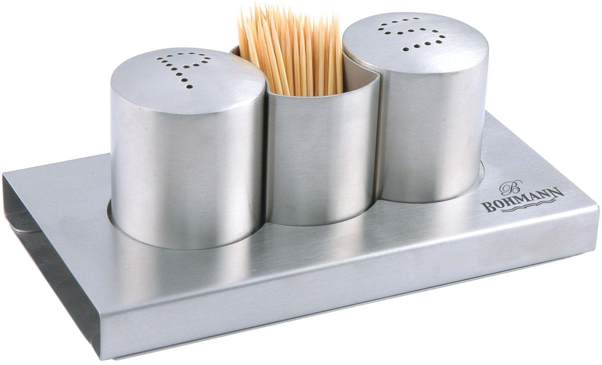 Набор для специй Bohmann, 4 предмета. 7814BHFA-5125 WhiteНабор для специй Bohmann - товар, соответствующий российским стандартам качества. Любой хозяйке будет приятно держать его в руках.В набор входят 2 емкости для соли и перца, 1 стаканчик для зубочисток, 1 металлический стенд - подставка. Изготовлен из нержавеющей стали.