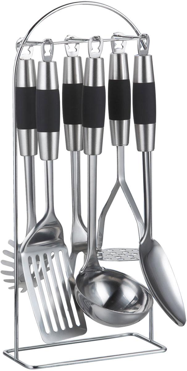 Набор кухонных принадлежностей Bohmann, 7 предметов391602Набор кухонных принадлежностей из нержавеющей стали. Не нагревающиеся ручки. Состав: половник, лопатка, ложка для спагетти, поварская ложка, поварская вилка, картофелемялка, металлический стенд. Толщина стали: 2,5 мм