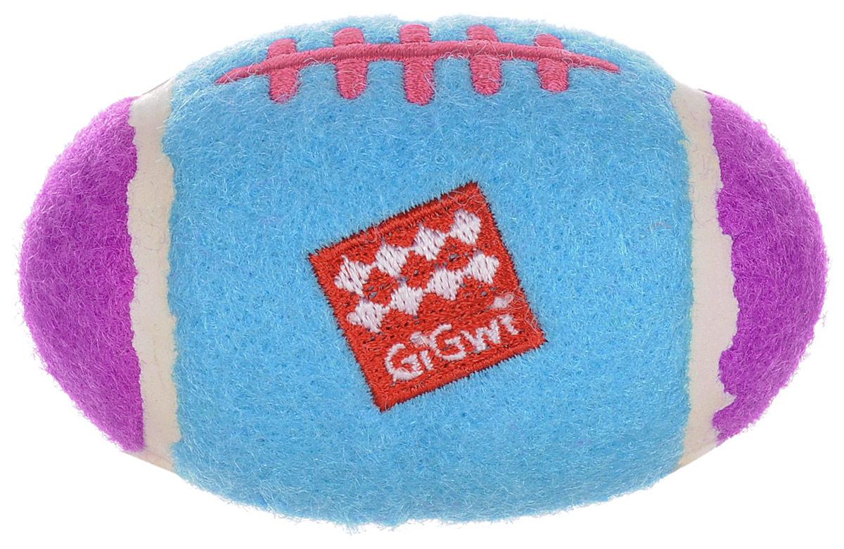 Игрушка для собак GiGwi Маленький регби - мяч, с пищалкой, 5,5 х 8,5 см0120710Игрушка для собак GiGwi Маленький регби - мяч выполнена из теннисного материала. Игрушка подходит для активной игры. Прочный, неабразивный, нетоксичный материал не ранит зубы. Игрушка оснащена пищалкой.