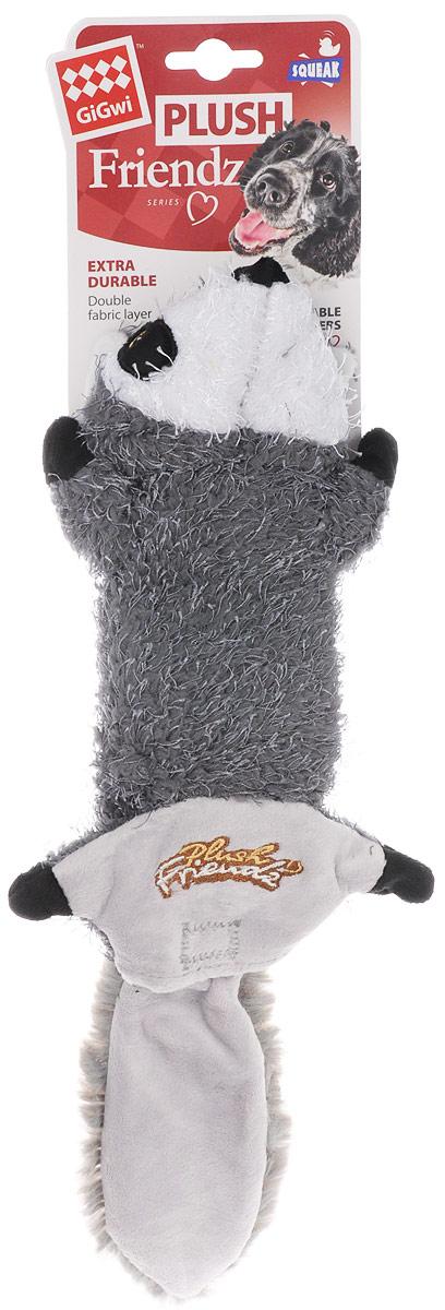 Игрушка для собак GiGwi Енот, шкурка с пищалкой, длина 40 см. 75352 игрушка для собак gigwi мячи с пищалкой диаметр 4 см 3 шт 75340