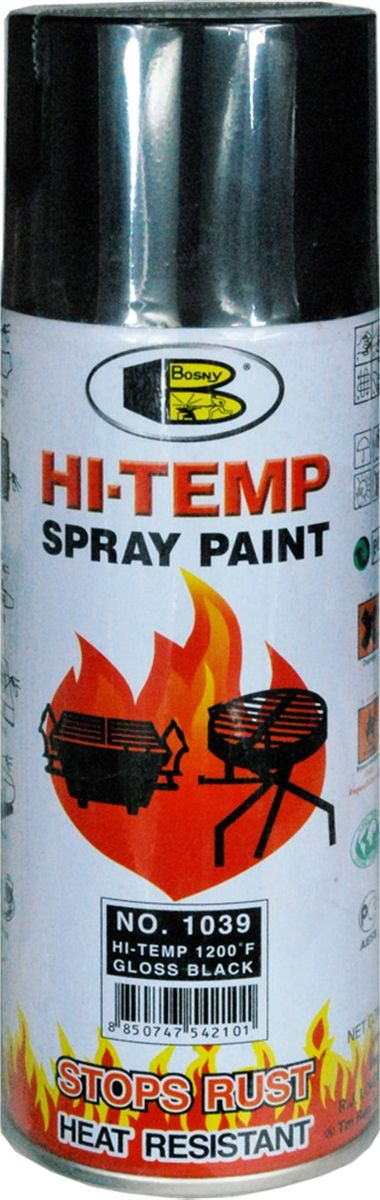 Краска термостойкая Bosny, аэрозоль, нагрев до + 650°C, цвет: черный глянцевый, 400 мл140 12mlТермостойкая краска Bosny изготовлена на основе модифицированных алкидных смол с добавлением специального компонента - стирола, что обеспечивает очень хорошую стойкость при контакте со стальными поверхностями.Краска жаростойкая, выдерживает нагрев до + 650°C, предотвращает окисление и коррозию. Также она отличается хорошей стойкостью к различным неблагоприятным воздействиям: не выцветает, не трескается и не желтеет. Барьером для влаги служат компоненты в ее составе, которые состоят из микрочастиц закаленного стекла. Кроме того, в краске Bosny не содержится свинец и ртуть, а быстросохнущие компоненты, входящие в ее состав, позволяют выполнять работу в самые короткие сроки. Уменьшению времени работы с краской способствует то, что поверхность перед окрашиванием не нуждается в грунтовке. Ее нужно лишь зачистить механическим путем и прогреть. Краску можно наносить и на ржавые поверхности, если нет возможности их замены. Область применения такой краски очень широка. Она подходит для окраски двигателей и выхлопных труб, радиаторов и глушителей, печей и духовок, котлов и грилей, труб теплосетей и каминов, а также другого высокотемпературного оборудования. Также краска применяется для окрашивания поверхностей из самых разнообразных материалов: пластика, стекла, пластмассы, керамики, металла, дерева, а также ткани.