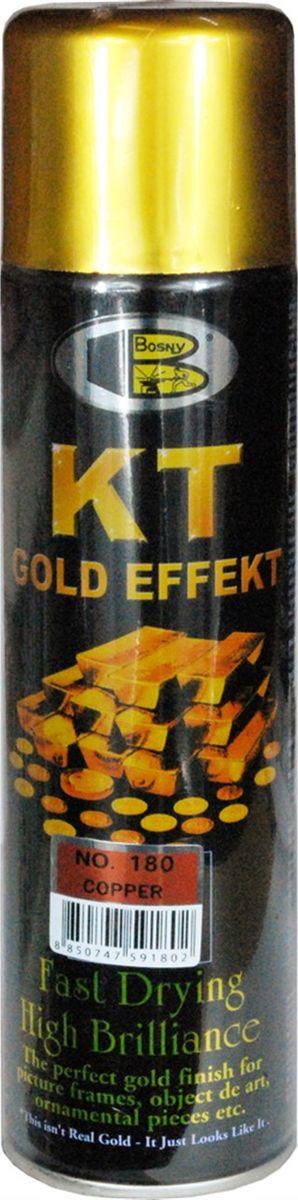 Аэрозольная краска Bosny 18 Карат, цвет: 180 медный, 300 мл180Золотая краска (аэрозольная) со специальным золотым пигментом повышенной яркости и стойкости. Специальный пигмент, в составе позволяет любым поверхностям, покрытым краской – деревянным, пластиковым или металлическим, приобретать ярко-выраженный эффект настоящего золота или меди. Цвета Медный, Золото, Золотая ветвь и Золотая искра рекомендованы к использованию при производстве наружных работ. Они очень стойкие к атмосферным явлениям – дождю, снегу, морозу или солнцепеку. Не истираются и имеют достаточно продолжительный срок службы. Золотая краска этой марки является прекрасным средством для декорирования деревянных, металлических, гипсовых или пластиковых поверхностей внутри квартиры, имеют слабовыраженный запах и прекрасные художественно-эстетические свойства. Она распределяется очень ровным слоем, быстро сохнет и имеет очень красивый оттенок. Аэрозольной краской Золото № 181 и 182 можно покрывать рамы картин, ножки кресел и стульев, придавая им цвет античного золота, декорировать всевозможные подставки, вазы и основы для ручного творчества, или красить деревянные, керамические или гипсовые изделия, результат индивидуального творчества. Также они подходят для реставрации поверхностей, давно утратившей внешний вид. Срок годности 5 лет