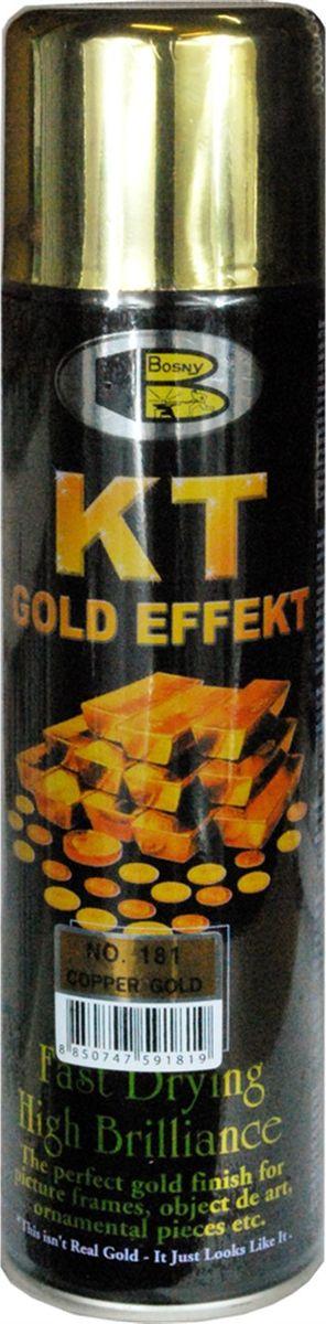 Аэрозольная краска Bosny 18 Карат, цвет: 181 темно-золотой металлик, 300 млRC-100BWCЗолотая краска (аэрозольная) со специальным золотым пигментом повышенной яркости и стойкости. Специальный пигмент, в составе позволяет любым поверхностям, покрытым краской – деревянным, пластиковым или металлическим, приобретать ярко-выраженный эффект настоящего золота или меди. Цвета Медный, Золото, Золотая ветвь и Золотая искра рекомендованы к использованию при производстве наружных работ. Они очень стойкие к атмосферным явлениям – дождю, снегу, морозу или солнцепеку. Не истираются и имеют достаточно продолжительный срок службы. Золотая краска этой марки является прекрасным средством для декорирования деревянных, металлических, гипсовых или пластиковых поверхностей внутри квартиры, имеют слабовыраженный запах и прекрасные художественно-эстетические свойства. Она распределяется очень ровным слоем, быстро сохнет и имеет очень красивый оттенок. Аэрозольной краской Золото № 181 и 182 можно покрывать рамы картин, ножки кресел и стульев, придавая им цвет античного золота, декорировать всевозможные подставки, вазы и основы для ручного творчества, или красить деревянные, керамические или гипсовые изделия, результат индивидуального творчества. Также они подходят для реставрации поверхностей, давно утратившей внешний вид. Срок годности 5 лет