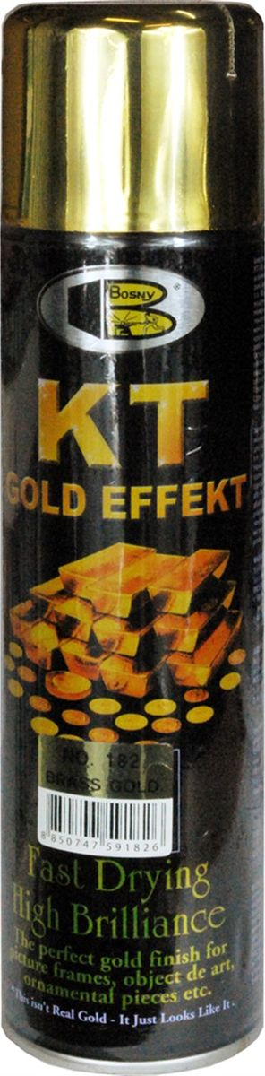 Аэрозольная краска Bosny 18 Карат, цвет: 182 латунь металлик, 300 мл141Золотая краска (аэрозольная) со специальным золотым пигментом повышенной яркости и стойкости. Специальный пигмент, в составе позволяет любым поверхностям, покрытым краской – деревянным, пластиковым или металлическим, приобретать ярко-выраженный эффект настоящего золота или меди. Цвета Медный, Золото, Золотая ветвь и Золотая искра рекомендованы к использованию при производстве наружных работ. Они очень стойкие к атмосферным явлениям – дождю, снегу, морозу или солнцепеку. Не истираются и имеют достаточно продолжительный срок службы. Золотая краска этой марки является прекрасным средством для декорирования деревянных, металлических, гипсовых или пластиковых поверхностей внутри квартиры, имеют слабовыраженный запах и прекрасные художественно-эстетические свойства. Она распределяется очень ровным слоем, быстро сохнет и имеет очень красивый оттенок. Аэрозольной краской Золото № 181 и 182 можно покрывать рамы картин, ножки кресел и стульев, придавая им цвет античного золота, декорировать всевозможные подставки, вазы и основы для ручного творчества, или красить деревянные, керамические или гипсовые изделия, результат индивидуального творчества. Также они подходят для реставрации поверхностей, давно утратившей внешний вид. Срок годности 5 лет