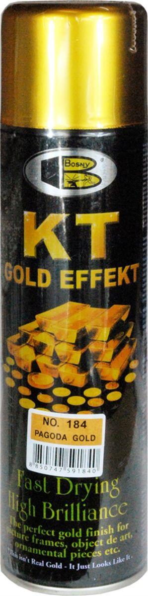 Аэрозольная краска Bosny 18 Карат, цвет: 184 золотая ветвь металлик, 300 мл7Золотая краска (аэрозольная) со специальным золотым пигментом повышенной яркости и стойкости. Специальный пигмент, в составе позволяет любым поверхностям, покрытым краской – деревянным, пластиковым или металлическим, приобретать ярко-выраженный эффект настоящего золота или меди. Цвета Медный, Золото, Золотая ветвь и Золотая искра рекомендованы к использованию при производстве наружных работ. Они очень стойкие к атмосферным явлениям – дождю, снегу, морозу или солнцепеку. Не истираются и имеют достаточно продолжительный срок службы. Золотая краска этой марки является прекрасным средством для декорирования деревянных, металлических, гипсовых или пластиковых поверхностей внутри квартиры, имеют слабовыраженный запах и прекрасные художественно-эстетические свойства. Она распределяется очень ровным слоем, быстро сохнет и имеет очень красивый оттенок. Аэрозольной краской Золото № 181 и 182 можно покрывать рамы картин, ножки кресел и стульев, придавая им цвет античного золота, декорировать всевозможные подставки, вазы и основы для ручного творчества, или красить деревянные, керамические или гипсовые изделия, результат индивидуального творчества. Также они подходят для реставрации поверхностей, давно утратившей внешний вид. Срок годности 5 лет