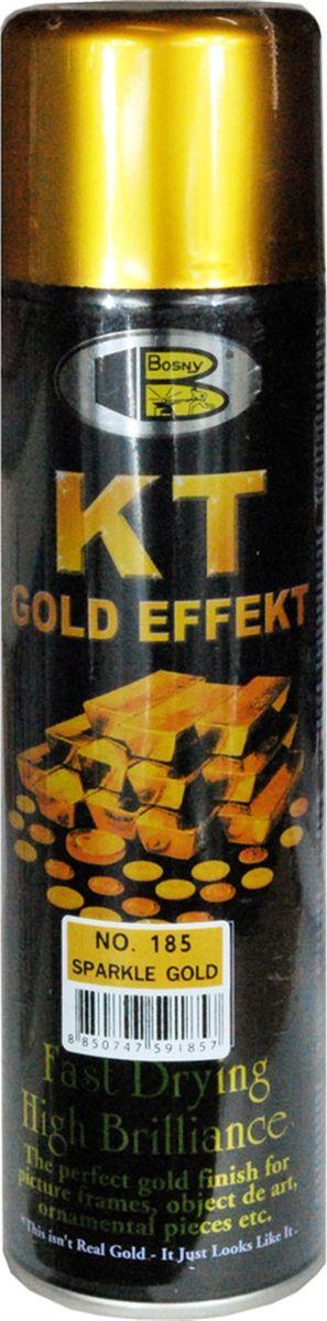 Аэрозольная краска Bosny 18 Карат, цвет: 185 золотая искра металлик, 300 млRC-100BWCЗолотая краска (аэрозольная) со специальным золотым пигментом повышенной яркости и стойкости. Специальный пигмент, в составе позволяет любым поверхностям, покрытым краской – деревянным, пластиковым или металлическим, приобретать ярко-выраженный эффект настоящего золота или меди. Цвета Медный, Золото, Золотая ветвь и Золотая искра рекомендованы к использованию при производстве наружных работ. Они очень стойкие к атмосферным явлениям – дождю, снегу, морозу или солнцепеку. Не истираются и имеют достаточно продолжительный срок службы. Золотая краска этой марки является прекрасным средством для декорирования деревянных, металлических, гипсовых или пластиковых поверхностей внутри квартиры, имеют слабовыраженный запах и прекрасные художественно-эстетические свойства. Она распределяется очень ровным слоем, быстро сохнет и имеет очень красивый оттенок. Аэрозольной краской Золото № 181 и 182 можно покрывать рамы картин, ножки кресел и стульев, придавая им цвет античного золота, декорировать всевозможные подставки, вазы и основы для ручного творчества, или красить деревянные, керамические или гипсовые изделия, результат индивидуального творчества. Также они подходят для реставрации поверхностей, давно утратившей внешний вид. Срок годности 5 лет