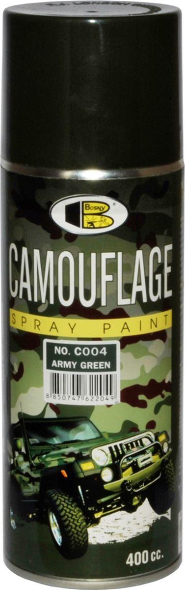 Аэрозольная краска Bosny Камуфляжная, цвет: с004 армейская зеленая, 300 мл1911Светопоглощающая краска, стойкая к истиранию и сколам. Создаёт атмосферостойкое долговечное покрытие, может использоваться на большинстве поверхностей, в том числе на металле, дереве, твёрдом пластике, стекле. Идеально подходит для окрашивания охотничьего, рыболовного и военного снаряжения, лодок, грузовиков, вездеходов, оборудования для экспедиций. Не отражает свет, создавая эффект скрытности. Спрей-краска серии камуфляж применима для выполнения работ по покраске большинства поверхностей. Она подходит для проведения покраски металла, дерева, стекла, твердого пластика, бетона, штукатурки, ремонтной покраски комплектующих автомобилей. Также данная краска может быть применима для творчества. В ряду достоинств спрей-краски стойкость к сколам и истиранию, высокие атмосферостойкие свойства, хорошие показатели к поглощению света, его отражению и обеспечению эффекта скрытности контуров окрашенных поверхностей и предметов. Благодаря этим свойствам и эргономичной конструкции баллончиков с помощью серии камуфляж даже для непрофессионала не составит большого труда создать высококачественное, долговечное и атмосферостойкое покрытие. Окрашенные поверхности устойчивы воздействию солнечных лучей, мороза, дождя, ветра и снега. Спрей-краска распыляется тонким и ровным слоем, который при нанесении на окрашиваемую контрастную поверхность позволяет сделать невидимым контраст краски. Этот эффект достигается благодаря высокому показателю укрывистости спрей-красок этой серии. Срок годности — 5 лет.