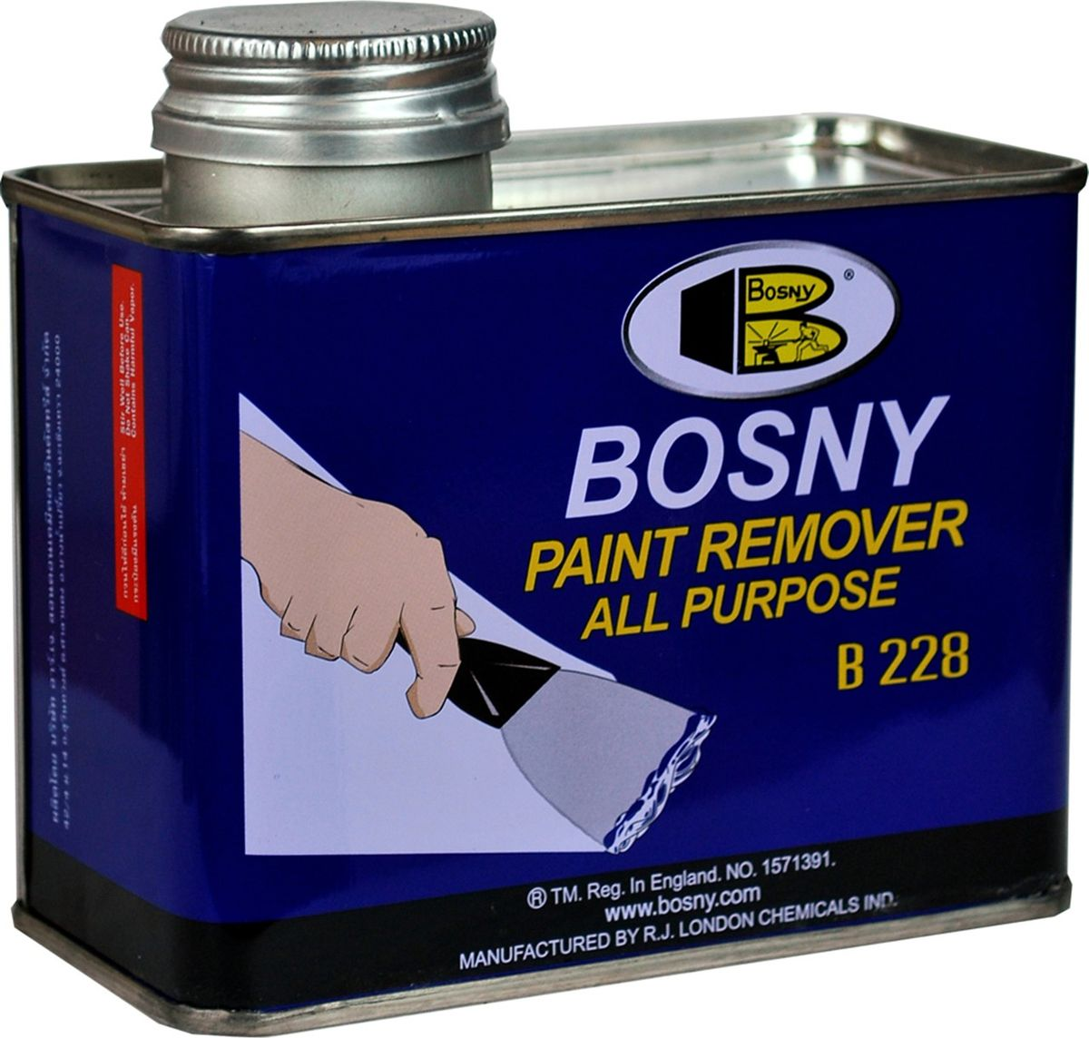 Смывка краски универсальная Bosny, гель, 400 г2615S545JBУниверсальнаясмывка краски Bosny - это мощное средствона гелевой основе. Подходит для удаления масляных красок, синтетических эмалей, различныхлаков, в том числецеллюлозных, эмалей горячей сушки, и других видов лакокрасочных покрытий. Может использоваться как для бытовых, так и для промышленных целей. Гелевая консистенция смывки имеет несколько преимуществ по сравнению с жидкими или аэрозольными составами:- После нанесения гелеобразный состав образует равномерный слой одинаковой толщины по всей поверхности. - Можно легко и точно дозировать расход материала. - Исключено попадание случайных брызг на соседние участки поверхности. - Не требует предварительного размешивания.