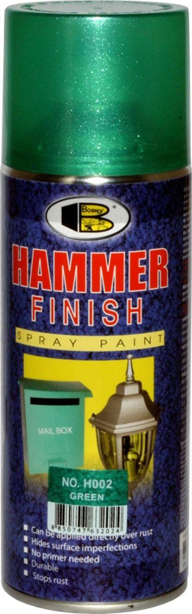 Аэрозольная краска Bosny Молотковая , цвет: h002 зеленый, 400 мл1003Быстросохнущая молотковая акриловая аэрозольная краска. Применяется для окрашивания металлических предметов, в том числе автомобилей, мотоциклов, деталей мебели, кухонной утвари, инструментов, станков, деталей интерьера и проч. Может наноситься поверх ржавчины, скрывает дефекты поверхности, не требует предварительной грунтовки, быстро сохнет, стойкая, останавливает ржавчину, обладает высоким глянцем. Атмосферостойкая: не выцветает, не желтеет. Не содержит свинца и ртути.Применение: Наносить на чистую, сухую поверхность. Перед работой тщательно встряхнуть баллончик. Второй слой можно наносить через 1-2 минуты. Срок годности 5 лет