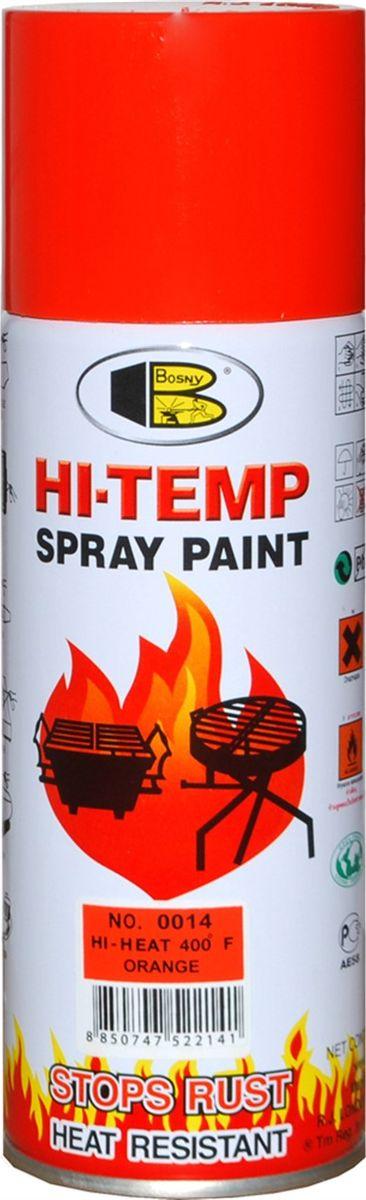 Аэрозольная краска Bosny, до 205°С, цвет: 0014 оранжевый, 400 мл1002Термостойкая краска производится из специальной смолы. Термостойкая краска выдерживает нагрев до 205 С. Не расслаивается и не отстает при воздействии высокой температуры. Для любителей делать ремонт быстро и оперативно термостойкая краска станет настоящей палочкой - выручалочкой, так как она содержит в своем составе быстросохнущие компоненты, которые позволяют выполнять все работы по покраске в кратчайшие сроки. В качестве защитного механизма у термостойкой краски включены в состав компоненты из микрочастиц закаленного стекла, которые позволяют обеспечивать необходимый барьер для влаги. Краска станет идеальным средством для работы на площадях, где есть резкий контраст температур. Она будет идеальна для покраски труб тепловых сетей, а также для использования на заводах и котельных, где оборудование и технические коммуникации испытывают большое температурное воздействие. Примечательно и то, что она может быть нанесена даже на ржавую поверхность, если есть необходимость сохранить участок этого материала, а средств на его замену нет. Она позволит усилить термо - защитные свойства любых материалов и повысить их сопротивляемость высокотемпературному воздействию. Срок годности — 5 лет.