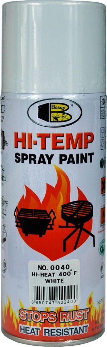 Аэрозольная краска Bosny, до 205°С, цвет: 0040 белый глянцевый, 400 млOOO6Термостойкая краска производится из специальной смолы. Термостойкая краска выдерживает нагрев до 205 С. Не расслаивается и не отстает при воздействии высокой температуры. Для любителей делать ремонт быстро и оперативно термостойкая краска станет настоящей палочкой - выручалочкой, так как она содержит в своем составе быстросохнущие компоненты, которые позволяют выполнять все работы по покраске в кратчайшие сроки. В качестве защитного механизма у термостойкой краски включены в состав компоненты из микрочастиц закаленного стекла, которые позволяют обеспечивать необходимый барьер для влаги. Краска станет идеальным средством для работы на площадях, где есть резкий контраст температур. Она будет идеальна для покраски труб тепловых сетей, а также для использования на заводах и котельных, где оборудование и технические коммуникации испытывают большое температурное воздействие. Примечательно и то, что она может быть нанесена даже на ржавую поверхность, если есть необходимость сохранить участок этого материала, а средств на его замену нет. Она позволит усилить термо - защитные свойства любых материалов и повысить их сопротивляемость высокотемпературному воздействию. Срок годности — 5 лет.