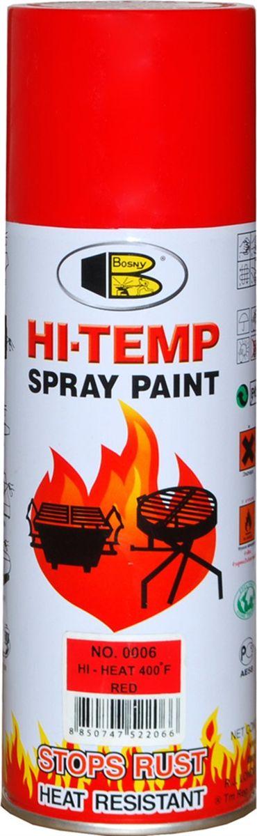 Аэрозольная краска Bosny, до 205°С, цвет: 0006 красный, 400 млRC-100BWCТермостойкая краска производится из специальной смолы. Термостойкая краска выдерживает нагрев до 205 С. Не расслаивается и не отстает при воздействии высокой температуры. Для любителей делать ремонт быстро и оперативно термостойкая краска станет настоящей палочкой - выручалочкой, так как она содержит в своем составе быстросохнущие компоненты, которые позволяют выполнять все работы по покраске в кратчайшие сроки. В качестве защитного механизма у термостойкой краски включены в состав компоненты из микрочастиц закаленного стекла, которые позволяют обеспечивать необходимый барьер для влаги. Краска станет идеальным средством для работы на площадях, где есть резкий контраст температур. Она будет идеальна для покраски труб тепловых сетей, а также для использования на заводах и котельных, где оборудование и технические коммуникации испытывают большое температурное воздействие. Примечательно и то, что она может быть нанесена даже на ржавую поверхность, если есть необходимость сохранить участок этого материала, а средств на его замену нет. Она позволит усилить термо - защитные свойства любых материалов и повысить их сопротивляемость высокотемпературному воздействию. Срок годности — 5 лет.