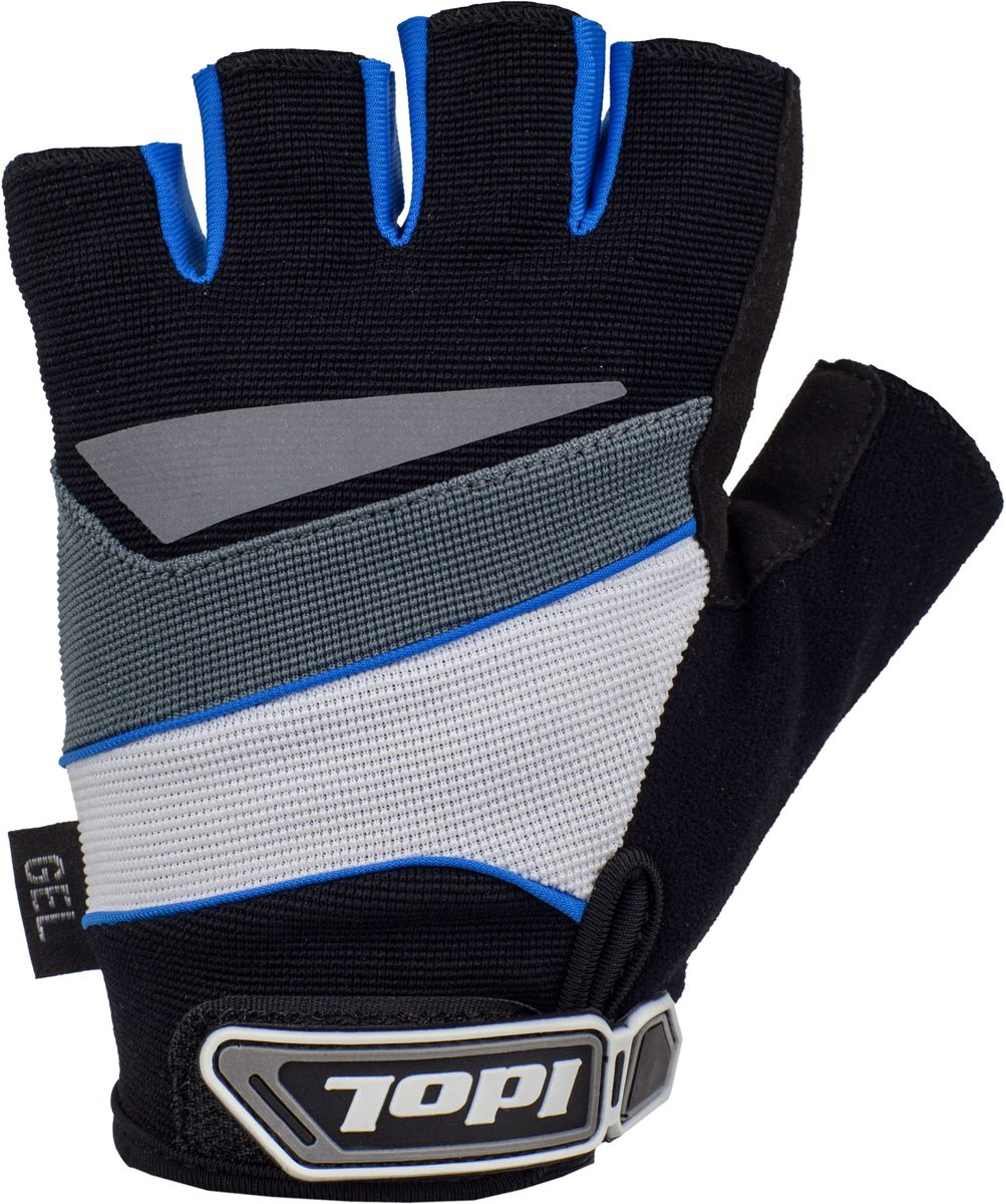 Перчатки велосипедные Idol Lech, цвет: черный, синий. Размер L2703Велосипедные перчатки с открытыми пальцами Idol LECH предназначены для велоспорта, велотуризма, велосипедных прогулок. Верх выполнен из высококачественного эластичного материала 4-way stretch, который отличается повышенной воздухопроницаемостью. Ладонь изготовлена из синтетической кожи Amara и дополнена гелевой вставкой для большего комфорта. Большой палец перчатки отделан влагоотводящим материалом. Светоотражающий элемент на тыльной стороне кисти. Двойной шов в критических местах обеспечивает дополнительную износоустойчивость. На запястьях перчатки фиксируются прочными липучками. Для удобства снятия каждая перчатка оснащена двумя небольшими петельками.Высокое качество, технически совершенные материалы, оригинальный стильный дизайн, функциональность и долговечность выделяют велоперчатки Idol среди прочих.