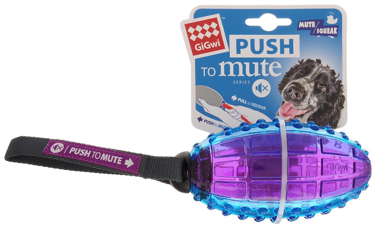 Игрушка для собак GiGwi Регби мяч, с отключаемой пищалкой, 12 х 7 см0120710Игрушка для собак GiGwi Регби мяч сделана из высококачественной резины. Она предназначена как для средних, так и для крупных пород собак. Вы можете включать и отключать пищалку в зависимости от ситуации. Чтобы отключить пищалку - втолкните ее внутрь игрушки, чтобы включить - потяните за ремешок.