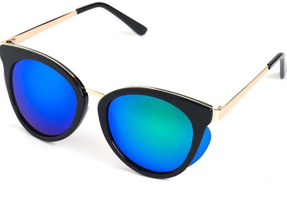 Очки солнцезащитные женские Selena, цвет: золотистый, синий, черный. 80035631BM8434-58AEСолнцезащитные женские очки Selena выполнены из качественного материала. Линзы очков обеспечивают 100% защиту от ультрафиолетовых лучей.Такие очки защитят глаза от ультрафиолетовых лучей, подчеркнут вашу индивидуальность и сделают ваш образ завершенным.Размер (ширина линзы*ширина моста-длина дужки) 56*20-135.