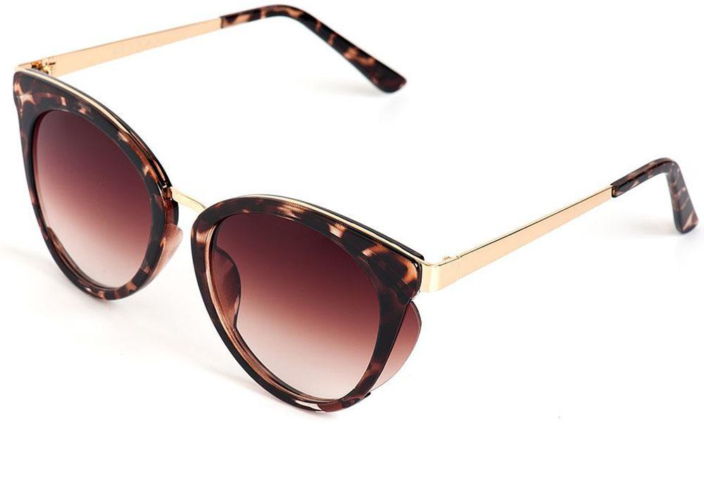 Очки солнцезащитные женские Selena, цвет: золотистый, коричневый. 80035641INT-06501Солнцезащитные женские очки Selena выполнены из качественного материала. Линзы очков обеспечивают 100% защиту от ультрафиолетовых лучей.Такие очки защитят глаза от ультрафиолетовых лучей, подчеркнут вашу индивидуальность и сделают ваш образ завершенным.Размер (ширина линзы*ширина моста-длина дужки) 56*20-135.