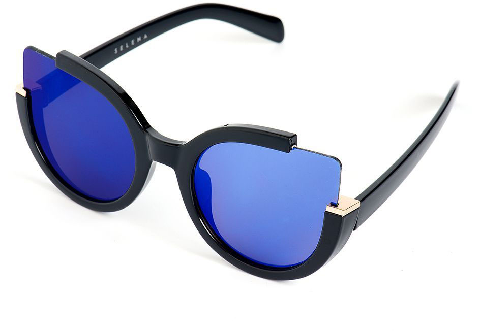 Очки солнцезащитные женские Selena, цвет: синий, черный. 80031INT-06501Стильные солнцезащитные женские очки Selena выполнены из качественного материала. Линзы очков обеспечивают 100% защиту от ультрафиолетовых лучей.Такие очки защитят глаза от ультрафиолетовых лучей, подчеркнут вашу индивидуальность и сделают ваш образ завершенным.Размер (ширина линзы*ширина моста-длина дужки) 60*20-150.