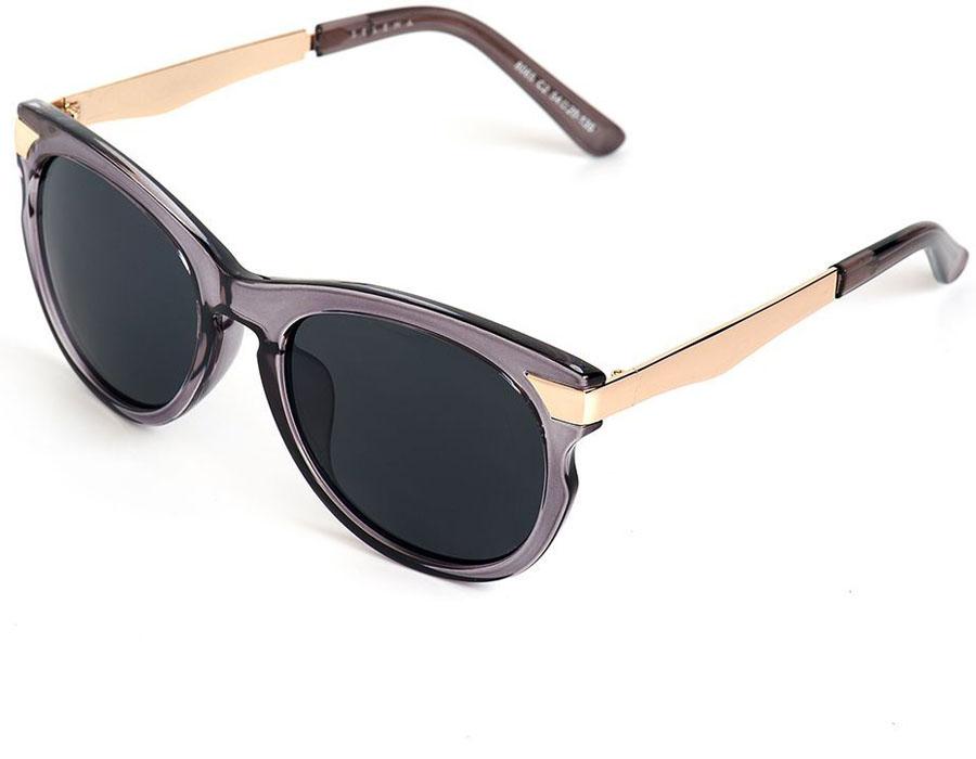 Очки солнцезащитные женские Selena, цвет: серый, золотой. 80035741BM8434-58AEСолнцезащитные женские очки Selena выполнены из качественного материала. Линзы очков обеспечивают 100% защиту от ультрафиолетовых лучей.Такие очки защитят глаза от ультрафиолетовых лучей, подчеркнут вашу индивидуальность и сделают ваш образ завершенным.Размер (ширина линзы*ширина моста-длина дужки) 54*20-135.