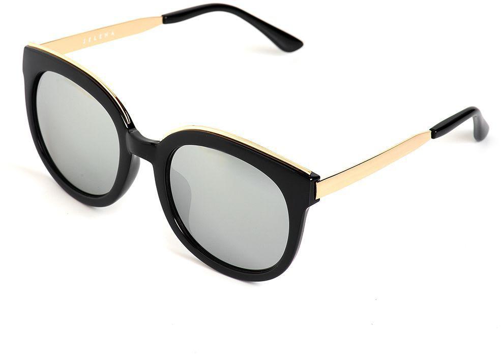 Очки солнцезащитные женские Selena, цвет: золотистый, серый, черный. 80036221BM8434-58AEСолнцезащитные женские очки Selena выполнены из качественного материала. Линзы очков обеспечивают 100% защиту от ультрафиолетовых лучей.Такие очки защитят глаза от ультрафиолетовых лучей, подчеркнут вашу индивидуальность и сделают ваш образ завершенным.Размер (ширина линзы*ширина моста-длина дужки) 55*24-148.
