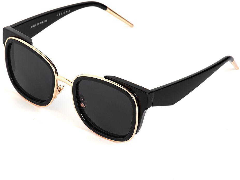 Очки солнцезащитные женские Selena, цвет: черный. 80036421INT-06501Солнцезащитные женские очки Selena выполнены из качественного материала. Линзы очков обеспечивают 100% защиту от ультрафиолетовых лучей.Такие очки защитят глаза от ультрафиолетовых лучей, подчеркнут вашу индивидуальность и сделают ваш образ завершенным.Размер (ширина линзы*ширина моста-длина дужки) 55*18-138.