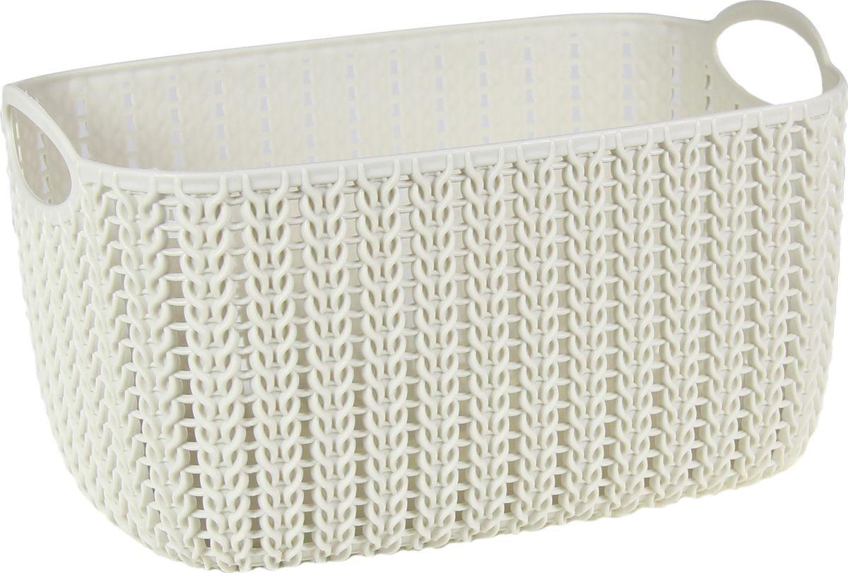 Корзинка Idea Вязание, цвет: белый ротанг, 4 л68/5/4Универсальная корзинка Idea изготовлена из высококачественного пластика с перфорированными стенками и сплошным дном. Такая корзинка непременно пригодится в быту, в ней можно хранить кухонные принадлежности, аксессуары для ванной и другие бытовые предметы, диски и канцелярию.Размер корзинки: 13 х 17 х 17 см. Объем корзинки: 4 л.