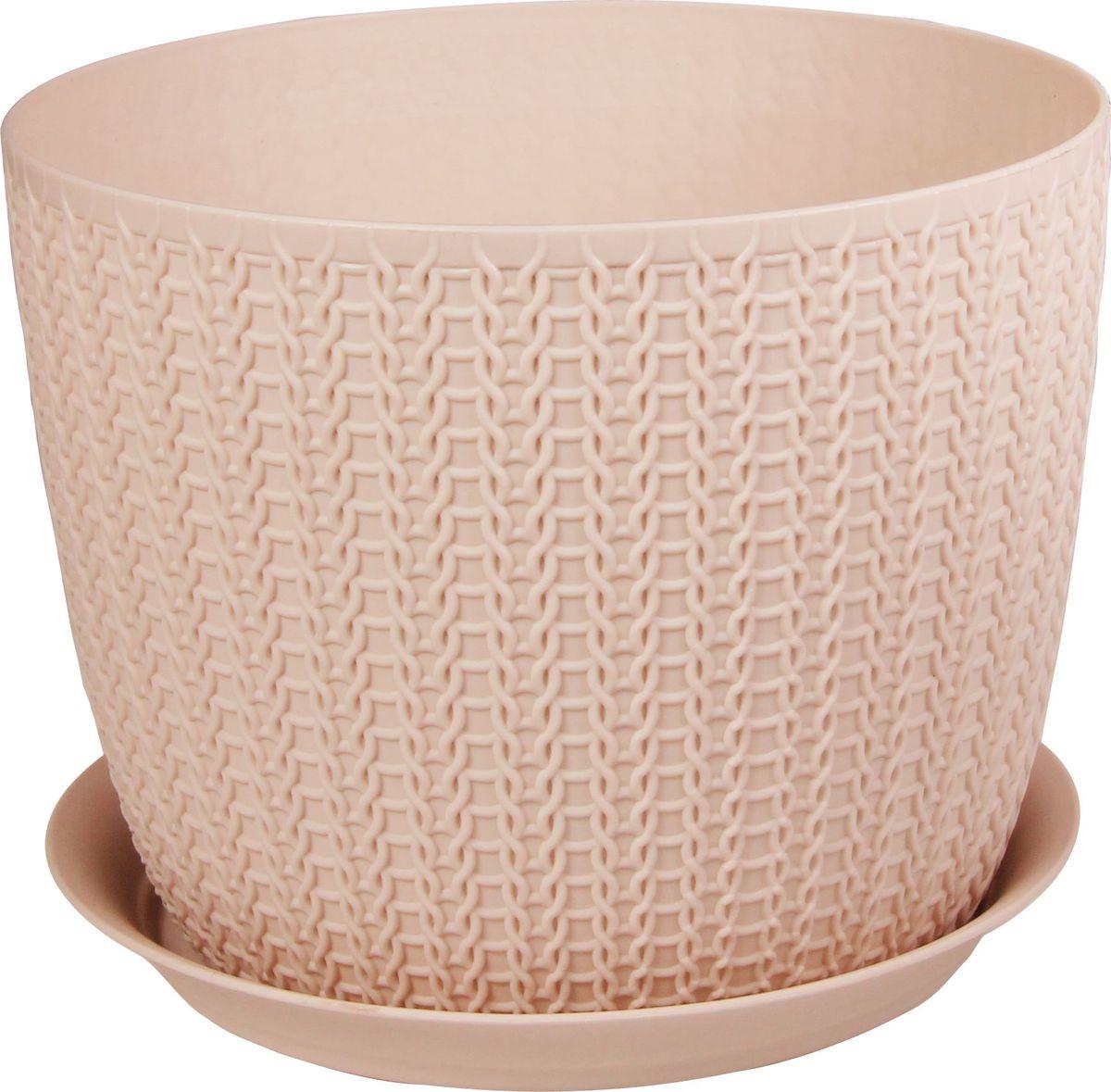 Кашпо Idea Вязание, с поддоном, цвет: чайная роза, диаметр 18 см531-105Кашпо Idea Вязание изготовлено из полипропилена (пластика). Специальная подставка предназначена для стока воды. Изделие прекрасно подходит для выращивания растений и цветов в домашних условиях.Диаметр кашпо: 18 см. Высота кашпо: 14 см. Объем кашпо: 2,8 л.