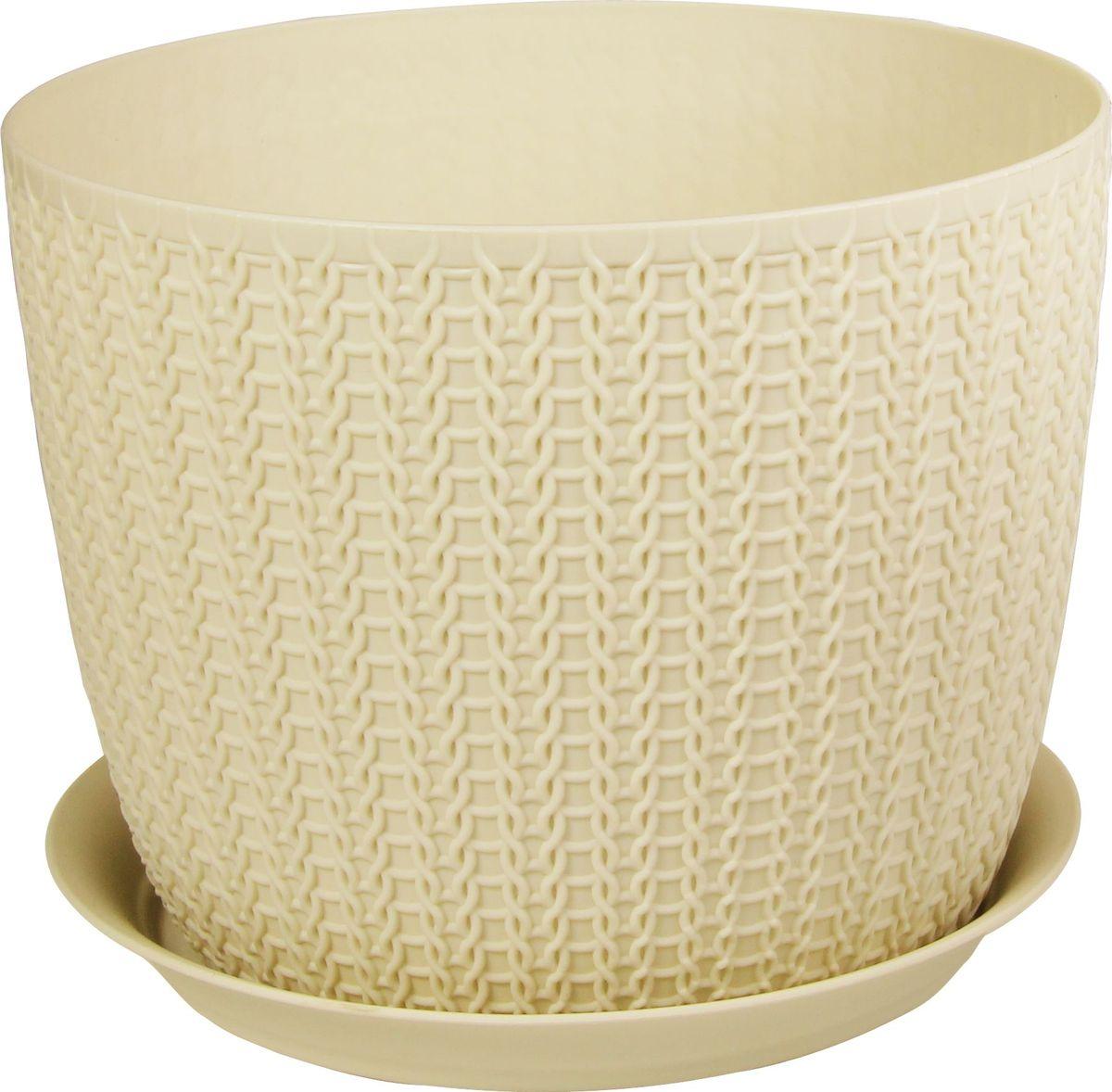 Кашпо Idea Вязание, с поддоном, цвет: белый ротанг, диаметр 21 см531-402Кашпо Idea Вязание изготовлено из полипропилена (пластика). Специальная подставка предназначена для стока воды. Изделие прекрасно подходит для выращивания растений и цветов в домашних условиях.Диаметр кашпо: 21 см. Высота кашпо: 16,5 см. Объем кашпо: 4,5 л.