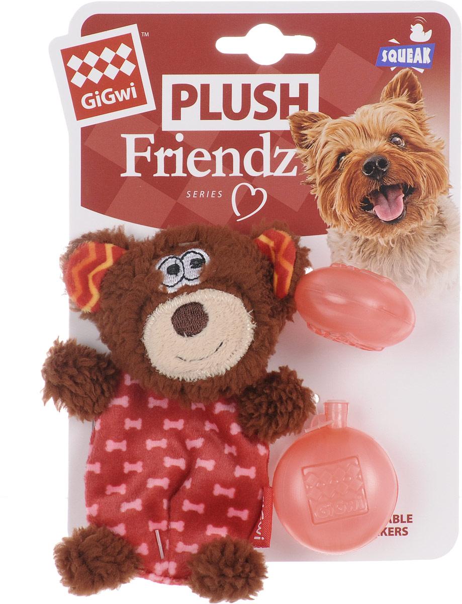 Игрушка для собак GiGwi Мишка, с пищалкой, высота 13 см0120710Игрушка для собак GiGwi Мишка порадует вашу собаку и доставит ей море веселья. Несмотря на большое количество материалов, большинство собак для игры выбирают классические плюшевые игрушки. Такие игрушки можно носить, уютно прижиматься во сне, жевать. Некоторые собаки просто любят взять в зубы игрушку и ходить с ней повсюду. Мягкие игрушки сохраняют запах питомца, поэтому он каждый раз к ней возвращается. Милые, мягкие и приятные зверушки характеризуются высоким качеством исполнения и привлекательным дизайном. Внутри игрушки нет наполнителя, что поможет сохранить чистоту в помещении. Игрушка снабжена пищалкой, которая привлекает внимание животного.