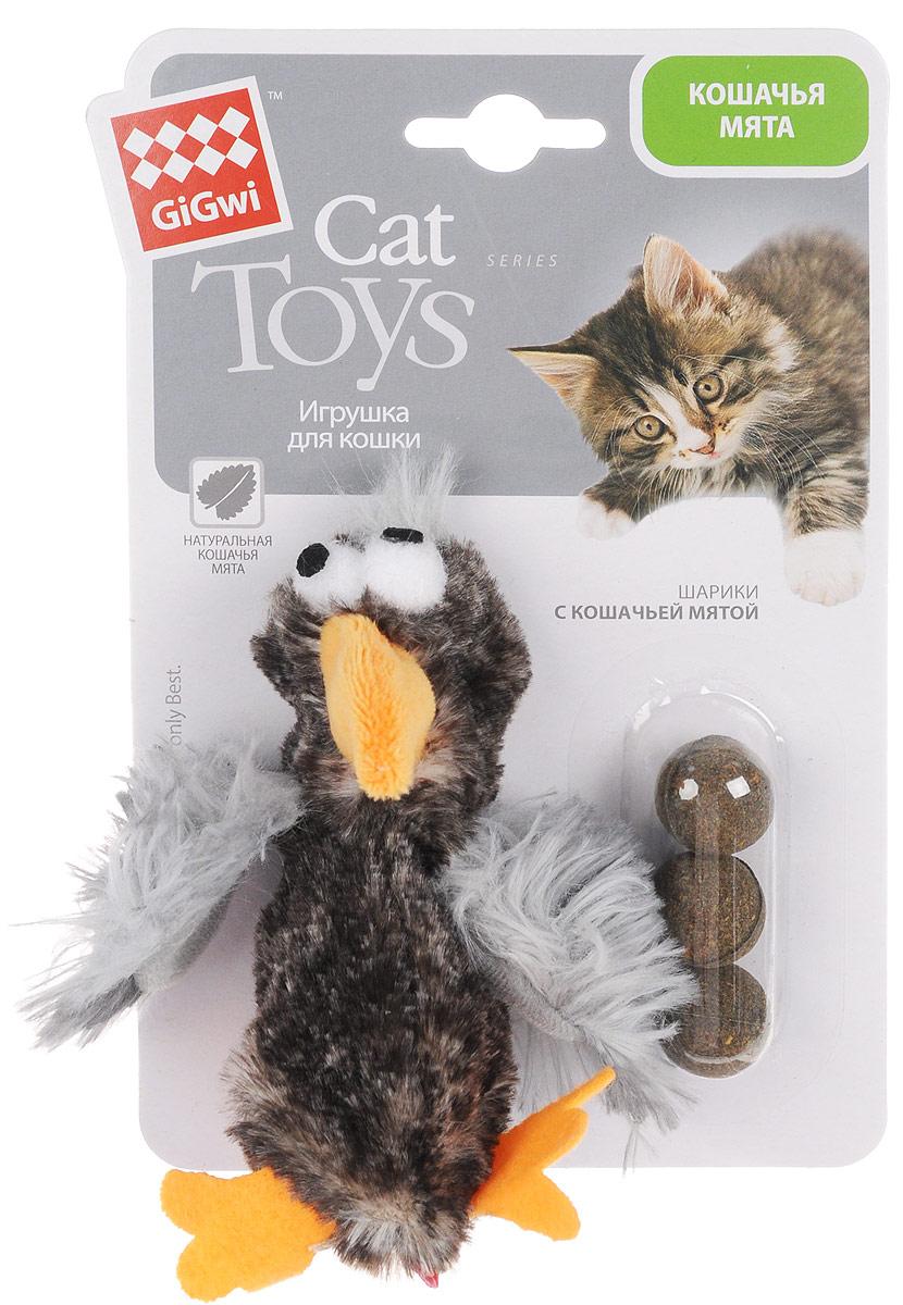 Игрушка для кошек GiGwi Птичка, с кошачьей мятой, длина 13 см электронная игрушка для кошек gigwi pet droid фезер воблер