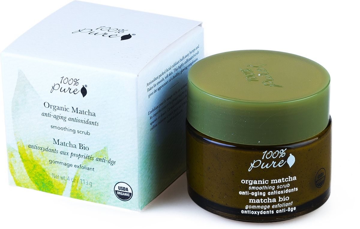 100% Pure Коллекция Зелёный Чай Matcha: органический выравнивающий скраб для лица. 118 млFS-00897Мультивитамины и антиоксиданты. Антиоксидантный скраб для лица удаляет ороговевшие частички кожи и трудноудаляемые загрязнения, тем самым делает кожу мягкой, ровной и гладкой. Насыщенный кофеином скраб увеличивает циркуляцию крови для придания Вашей коже здорового и сияющего вида. Сертификация USDA organic.