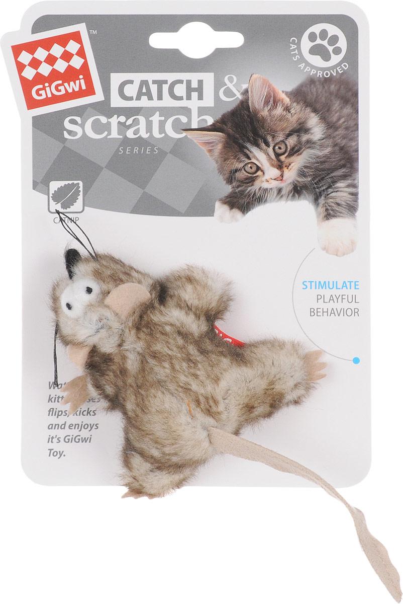 Игрушка для кошек GiGwi Мышка, с кошачьей мятой, длина 8 см электронная игрушка для кошек gigwi pet droid фезер воблер