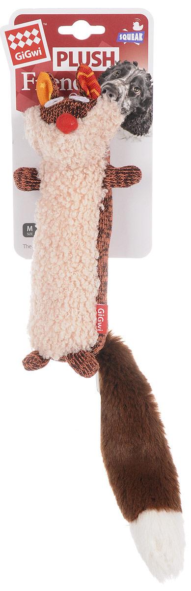 Игрушка для собак GiGwi Лиса, с пищалкой, цвет: оранжевый, коричневый, бежевый, длина 37 см0120710Игрушка для собак GiGwi Лиса порадует вашу собаку и доставит ей море веселья. Несмотря на большое количество материалов, большинство собак для игры выбирают классические плюшевые игрушки. Такие игрушки можно носить, уютно прижиматься во сне, жевать. Некоторые собаки просто любят взять в зубы игрушку и ходить с ней повсюду. Мягкие игрушки сохраняют запах питомца, поэтому он каждый раз к ней возвращается.Милые, мягкие и приятные зверушки характеризуются высоким качеством исполнения и привлекательным дизайном. Внутри игрушки нет наполнителя, что поможет сохранить чистоту в помещении. Игрушка снабжена пищалкой, которая привлекает внимание животного.