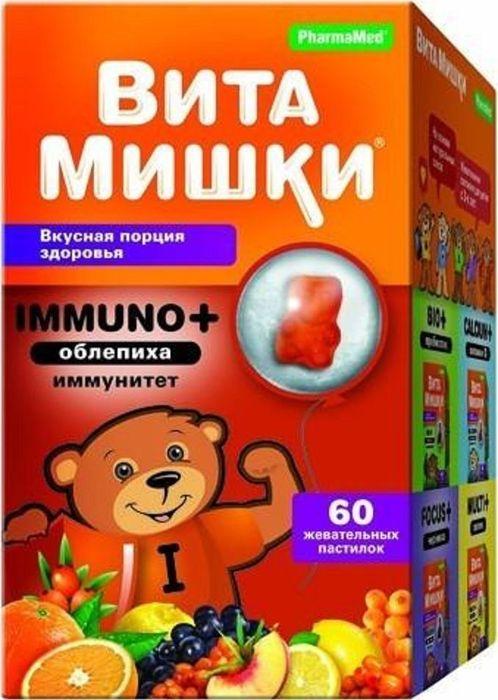 Витамишки Immuno+облепиха, 60 жевательных пастинок х 2,5 гперфорационные unisexВитамишки Био+ пребиотик - сбалансированный комплекс витаминов с пребиотиком в виде вкусных мармеладных пастилок мишек с натуральными фруктовыми и овощными экстрактами, для детей с 3-х лет.Обогащает детский организм витаминами группы В. Входящие в состав комплекса инулин, фруктоолигосахарид и экстракт плодов фенхеля способствуют восстановлению полезной микрофлоры кишечника, улучшают пищеварение и нормализуют аппетит. Способствуют регулярному освобождению кишечника Сфера применения: Витаминология.Товар сертифицирован.