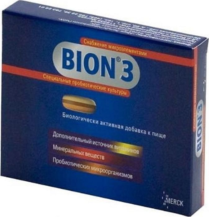 Бион 3, 10 таблетокGESS-306Восполняющее дефицит витаминов и минеральных веществ действие лекарственных препаратов складывается из комплекса биологических эффектов, присущих тем витаминам, микро- и макроэлементам, которые входят в комплексный препарат.Бион 3 оказывает действие, нормализующее микрофлору кишечника, иммуностимулирующее, нормализующее водно-электролитный баланс, восполняющее дефицит витаминов и минеральных веществ.Способствуя укреплению защитных сил организма! Помогает нормализовать микрофлору кишечника, тем самым усиливает её защитную функцию и также оберегает её от отрицательного воздействия антибиотиков.Является дополнительным источником витаминов и минералов, необходимых для тонуса и быстрого восстановления.Бион 3 - Полноценный состав: - Запатентованная трёхслойная таблетка. - Оригинальная комбинация пробиотиков. - Основные минералы. - Сбалансированный комплекс витаминов. Сфера применения: Витаминология.Товар сертифицирован.