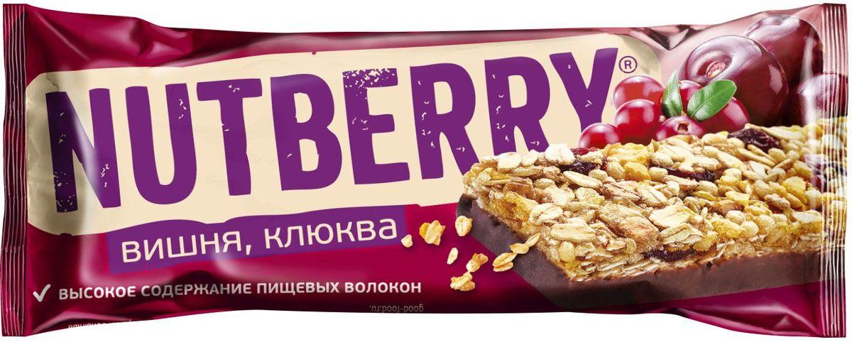 Nutberry глазированный батончик из сухофруктов мюсли с вишней и клюквой, 30 г0120710Батончик мюсли Nutberry Клюква с вишней - отличная альтернатива традиционным сладостям. В батончике сочетается кислинка клюквы и вишни с мягким вкусом меда и шоколадной глазури. Натуральные сухофрукты, пшеничные, рисовые и овсяные хлопья – источники энергии на каждый день.