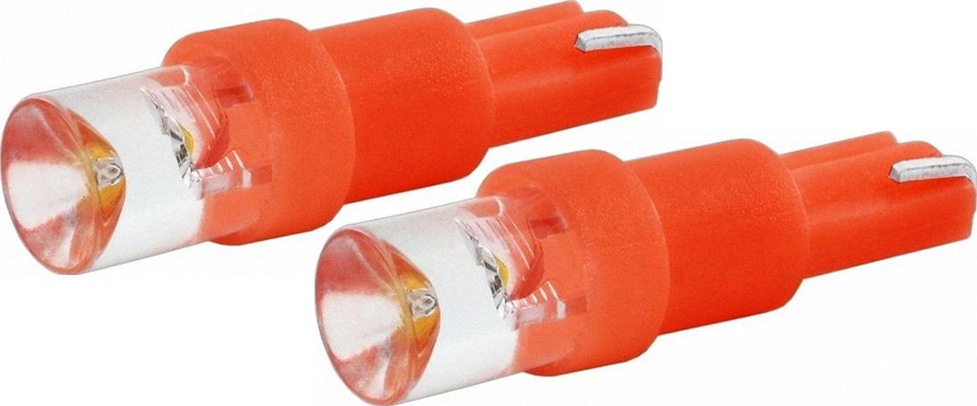 Автолампа светодиодная Jpower, цвет: красный, 2 шт. T5-1LED10503Светодиод J-POWER T5 вогнутая подсветка красный, используется для подсветки приборной панели.