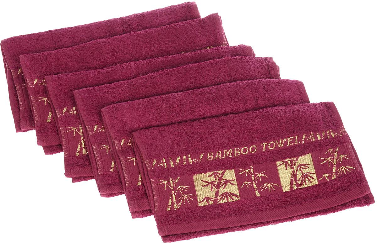 Набор полотенец Brielle Bamboo Gold, цвет: бургунди, 30 х 50 см, 6 шт12723Набор Brielle Bamboo Gold состоит из шести полотенец, выполненных на 70% из бамбука и на 30% из хлопка. Изделия отлично впитывают влагу, быстро сохнут, сохраняют яркость цвета и не теряют формы даже после многократных стирок. Полотенца Brielle Bamboo Gold очень практичны и неприхотливы в уходе. Такой набор послужит приятным подарком.