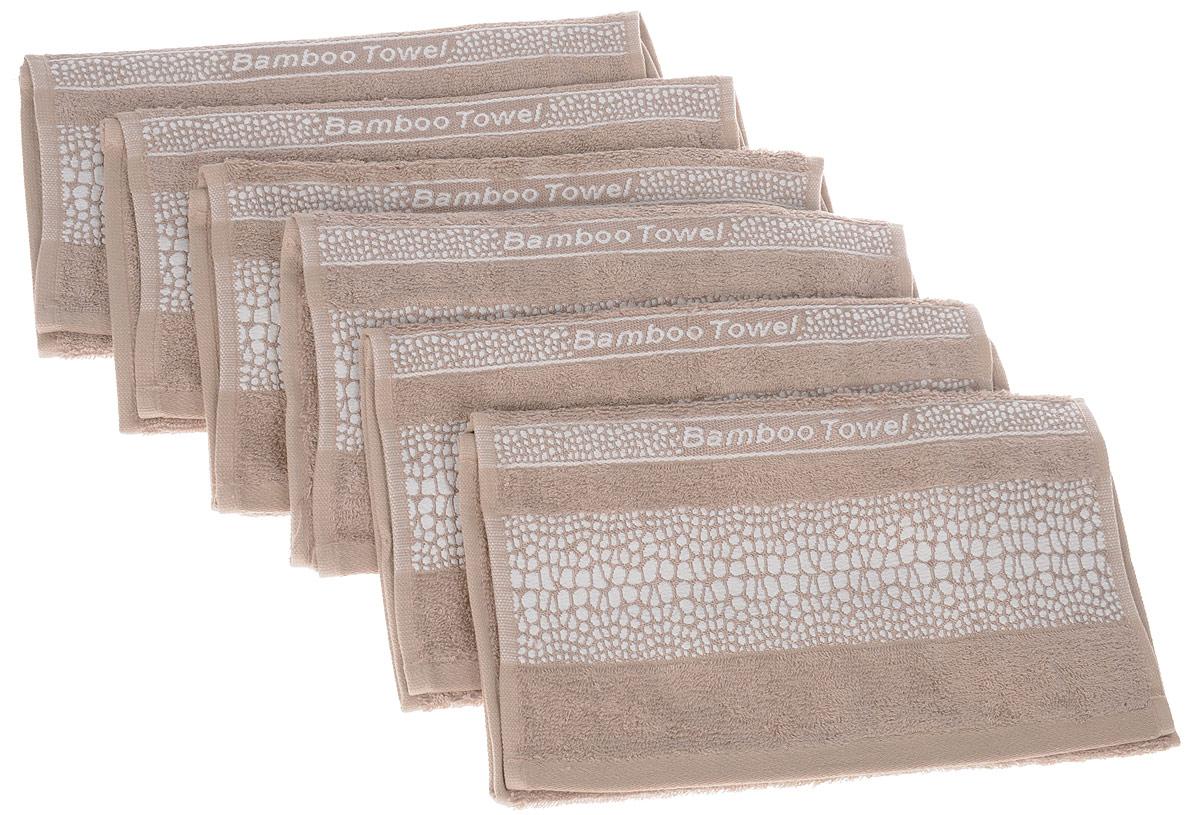 Набор полотенец Brielle Bamboo. Crocodile, цвет: мокко, 30 х 50 см, 6 штCLP446Набор Brielle Bamboo. Crocodile состоит из шести полотенец, выполненных из бамбука с содержанием хлопка. Изделия очень мягкие, они отлично впитывают влагу, быстро сохнут, сохраняют яркость цвета и не теряют формы даже после многократных стирок. Одна из боковых сторон оформлена принтом под крокодила и надписью. Полотенца Brielle Bamboo. Crocodile очень практичны и неприхотливы в уходе. Такой набор послужит приятным подарком.