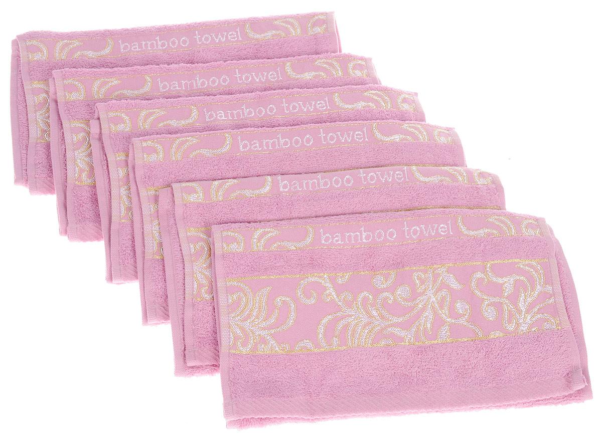 Набор полотенец Brielle Bamboo. Jacquard, цвет: розовый, 30 х 50 см, 6 штBH-UN0502( R)Набор Brielle Bamboo. Jacquard состоит из шести полотенец, выполненных из бамбука с содержанием хлопка. Изделия очень мягкие, они отлично впитывают влагу, быстро сохнут, сохраняют яркость цвета и не теряют формы даже после многократных стирок. Одна из боковых сторон оформлена оригинальным узором и надписью. Полотенца Brielle Bamboo. Jacquard очень практичны и неприхотливы в уходе. Такой набор послужит приятным подарком.