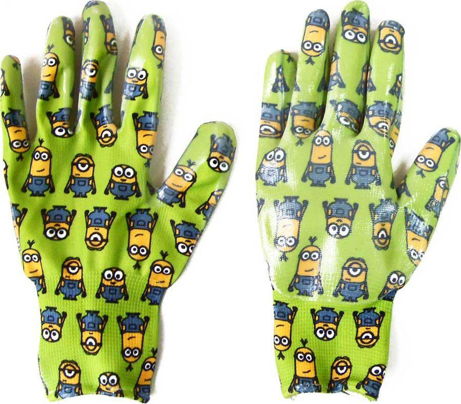Перчатки садовые Garden Show Миньоны, нейлоновые, с нитриловым покрытием, цвет: зеленый. Размер M (9)466324Перчатки садовые Garden Show Миньоны выполнены из нейлона с нитриловым покрытием, благодаря чему предметы в руках не скользят. Эластичные манжеты надежно фиксируют перчатки на руке. Такие перчатки защитят руки от влаги, грязи и царапин при выполнении садовых работ. Изделия дополнены красочным изображением миньонов.