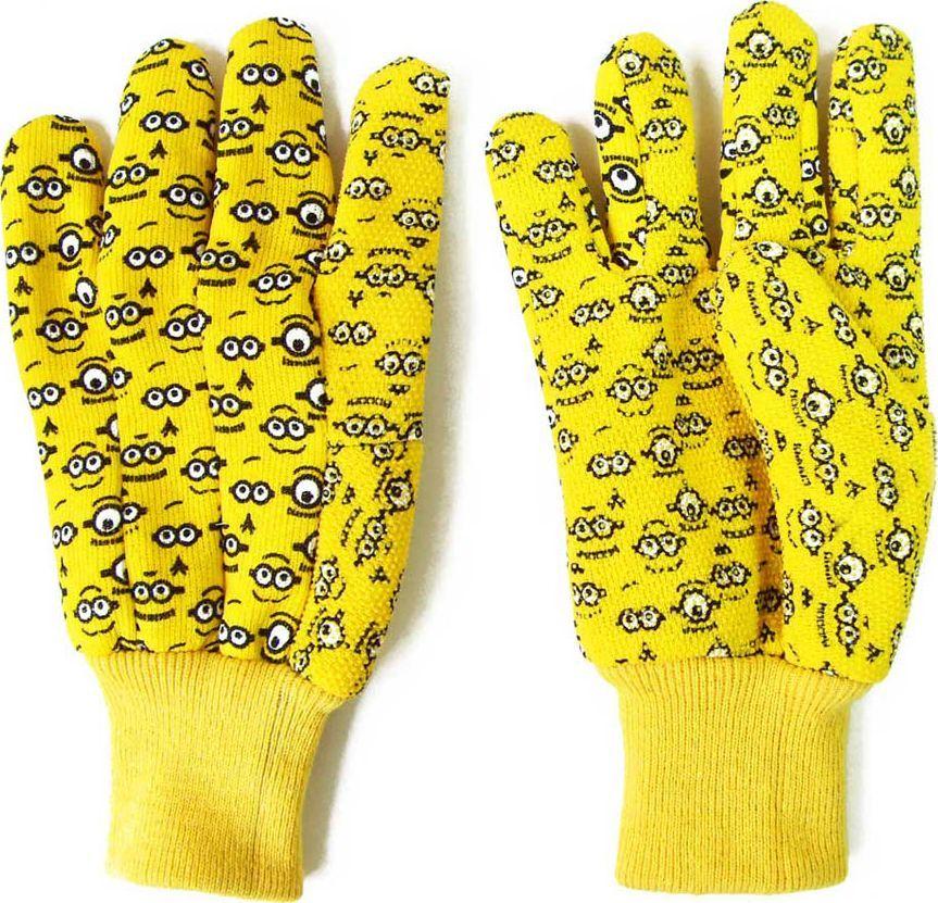 Перчатки садовые Garden Show Миньоны, трикотажные, цвет: желтый. Размер M (9)RC-100BPCПерчатки садовые Garden Show Миньоны выполнены из хлопка и полиэстера. Рабочая поверхность перчаток отделана поливинилхлоридом для надежного хвата. Эластичные манжеты надежно фиксируют перчатки на руке. Такие перчатки защитят руки от влаги, грязи и царапин при выполнении различных работ. Изделия дополнены красочным изображением миньонов.